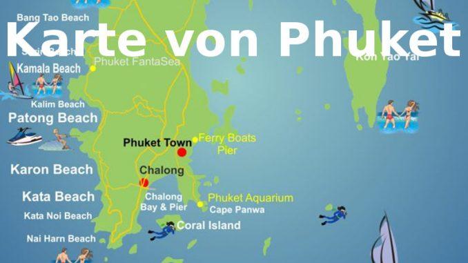 Thailand Inseln Karte.Karte Phuket Strände Straßen Flughafen Sehenswürdigkeiten