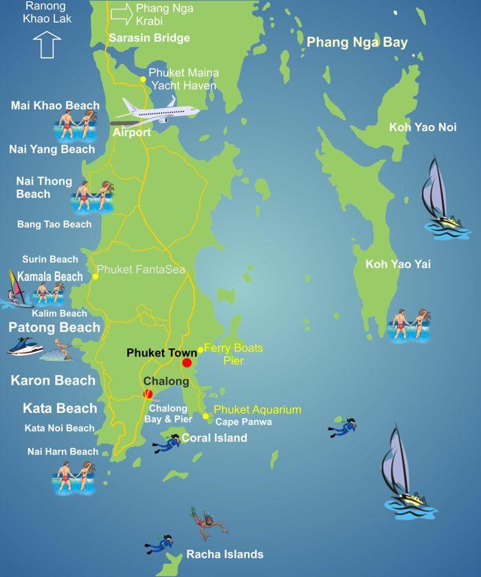 Karte Phuket Strande Strassen Flughafen Sehenswurdigkeiten