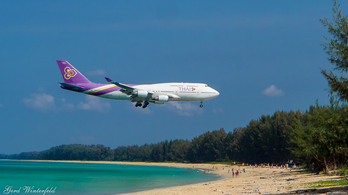 Planespotting Phuket, Thai Airways, Boeing 747-400